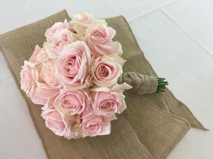 Pale pink roses and hessian  Www.thelythamweddingcompany.co.uk