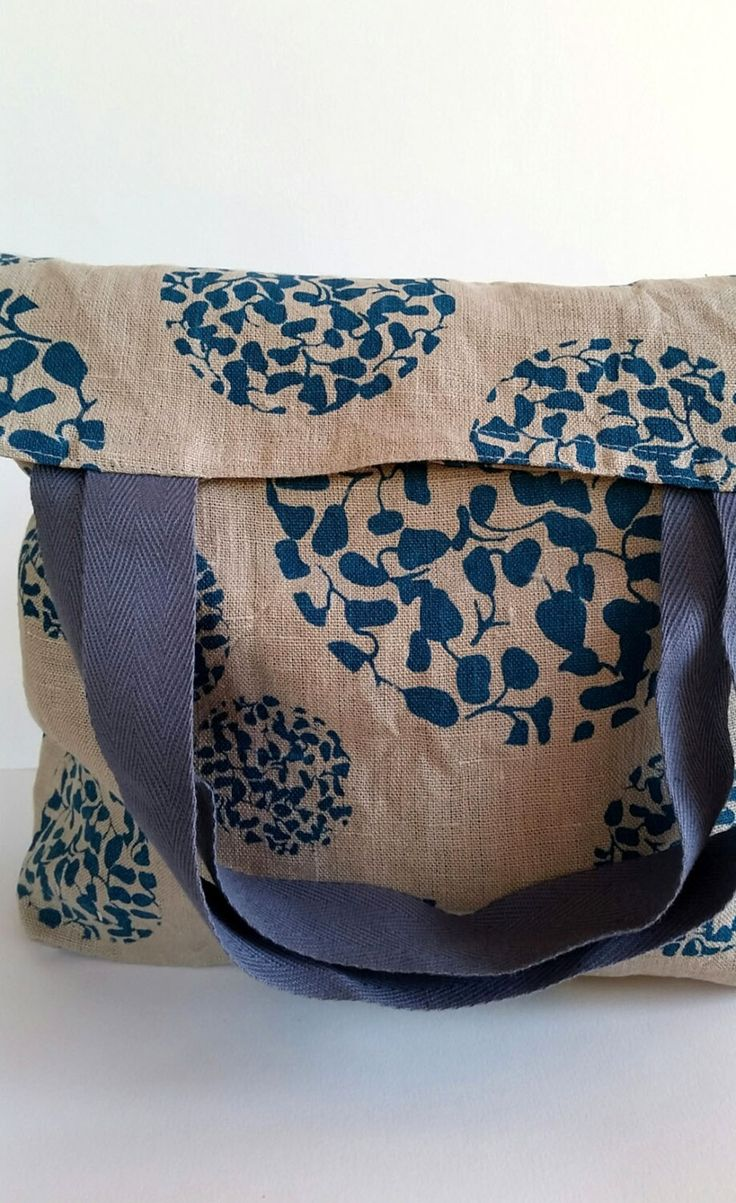 Market bag/shopping bag/tote bag linen with blue screen printed botanical print by FemkeTextiles on Etsy