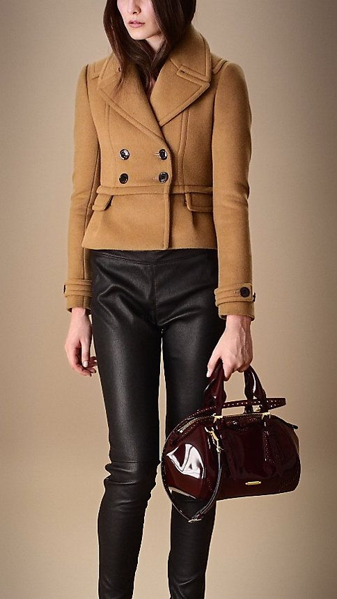 hm...short cropped coat with my wide hips? Bonded Wool Cropped Pea Coat | Burberry sale $775
