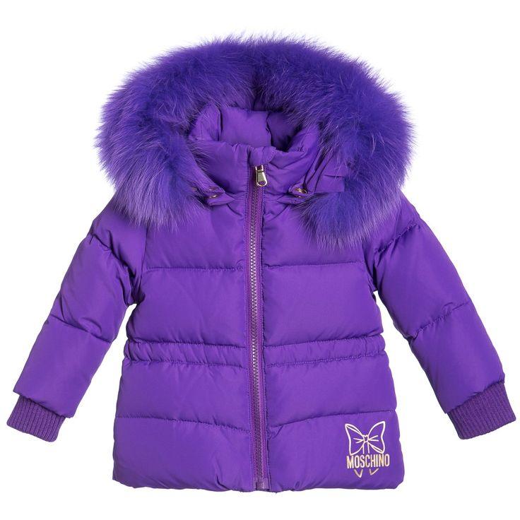 Moschino Baby Girls Purple Down Padded Fur-Trim Jacket at Childrensalon.com