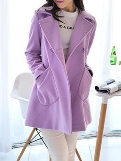 Purple Buttoned Shawl Collar Casual Plus Size Coat