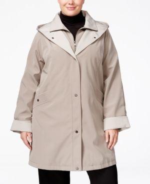 Jones New York Plus Size Water-Resistant Hooded Raincoat - Brown 2X