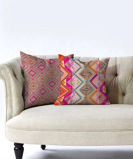 Sofa Tables DENY Designs Pink u Orange Geometric Throw Pillow Set of Two zulily