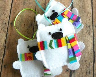 Adornos de fieltro oso polar oso blanco bosques por MyMagicFelt
