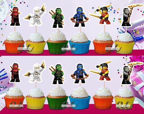 Ninjago cupcake toppers//party favors//party supplies//decorations