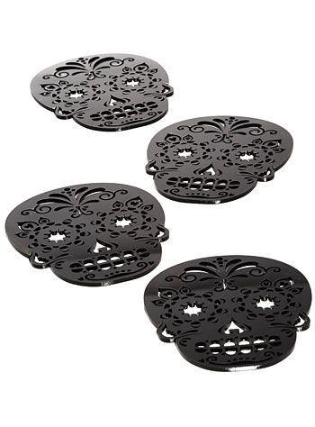 Black Sugar Skull Coasters Set   $18.00