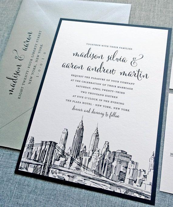 Madison New York Skyline Wedding Invitation - New York, Boston, Chicago, Los Angeles, San Francisco