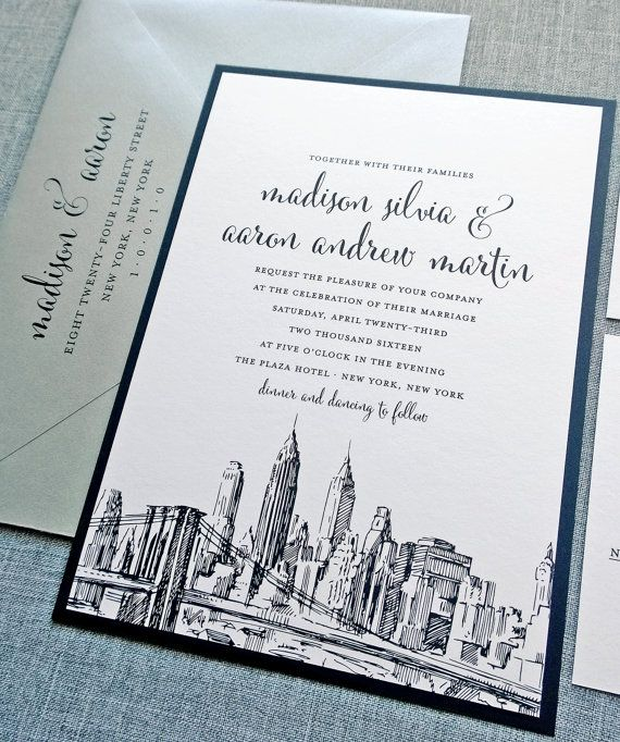 madison new york skyline wedding invitation sample boston chicago dallas los angeles new york san francisco