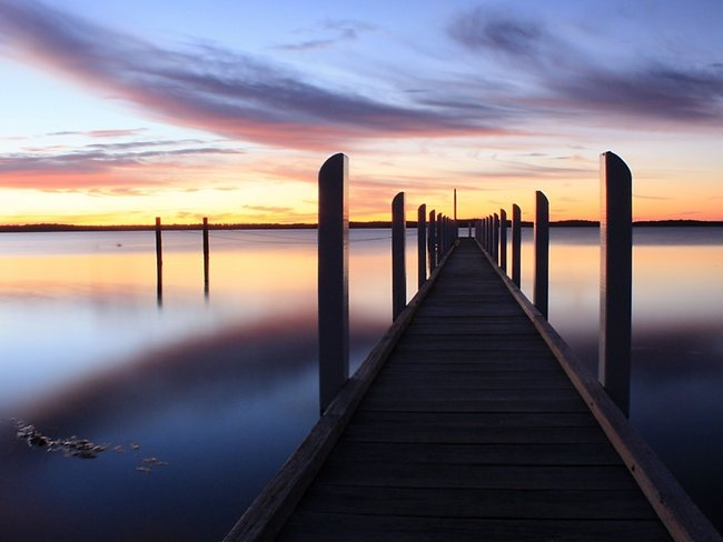 Wattle Point Lake in Gippsland Lakes, Victoria, looks like a dream world at sunrise. Picture: Lisa Sandy
