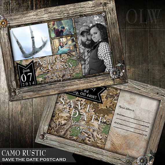 Wedding Save the Date - Rustic Brown Frame with camouflage bkg- Photo Save the Date Postcard So may subtle details on this rustic wedding save the date. Bordered with a distressed brown wood frame that holds a hunter camouflage background. The edges are adorned with metal embellishments of stars and metal brackets and circle elements,a s well as pearls. The perfect combo of girly meets outdoor and great for the hunter or sportsman couple #wedding #savethedate #cammo #rusticwedding