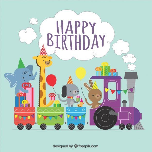 Fondo de cumpleaños de tren con adorables animales Vector Gratis