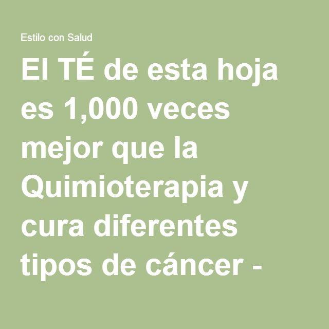 El TÉ de esta hoja es 1,000 veces mejor que la Quimioterapia y cura diferentes tipos de cáncer - Estilo con Salud