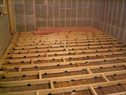 Building a home recording studio floor - Most pins emphasize WALLS. Excellent article attached to photo. #cSw:) - https://www.pinterest.com/claxtonw/professional-recording-music-production/ - PROFESSIONAL STUDIO - Esp for 2nd floor sound proofing: Lay 2x6s  opposite the existing floor joists. Put rubber decouplers under them & tie them together with 2x4 pieces in random places.