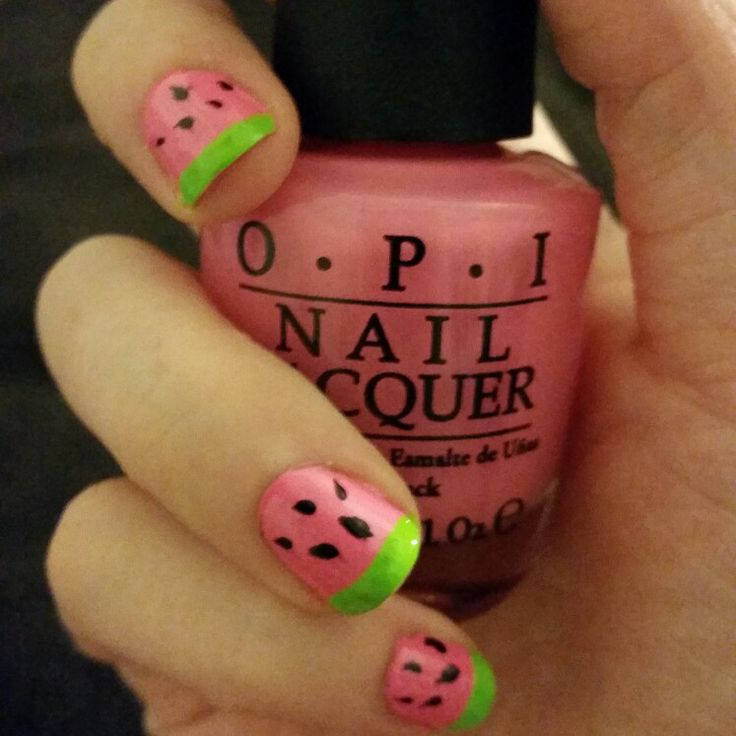 Watermelon nails! Perfect for summer!