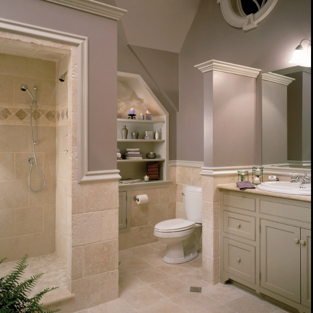 Lovin 39 the grays and taupes travertine tile from houzz - Bathroom paint colors with gray tile ...