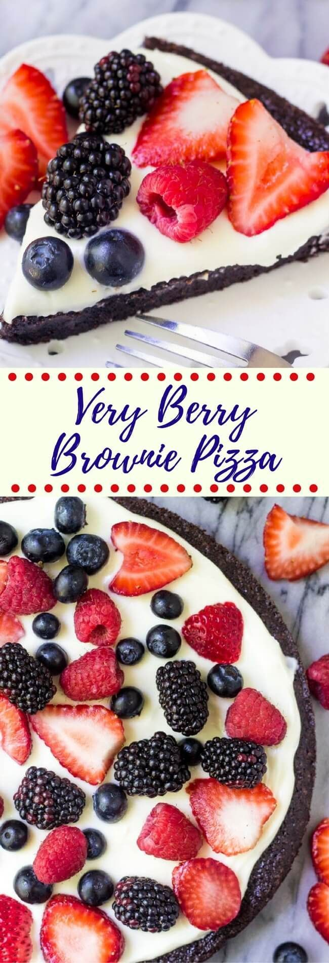 This Very Berry Brownie Pizza starts with a fudgy, one bowl brownie. Then it's smothered in a sweet cream cheese topping and decorated with fresh berries. If you love fruit pizza & chocolate - then you NEED to try this!