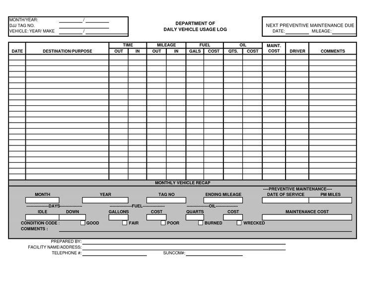 Vehicle Fuel Log Book Aprildearest