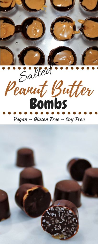 These Salted Chocolate Peanut Butter Bombs are the easiest way to make a vegan peanut butter cup. They are gluten and dairy free and can be made in minutes. thehiddenveggies.com