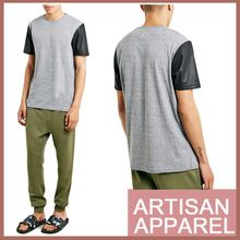 Grey t shirt with Leather Sleeve New Designed Custom T-shirt  best seller follow this link http://shopingayo.space