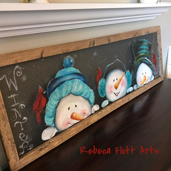 Peeking snowmen, with cardinals, snowman, snowmen, winter, holidays, window screen, screen art, hand painted, handmade, unique, gift ideas