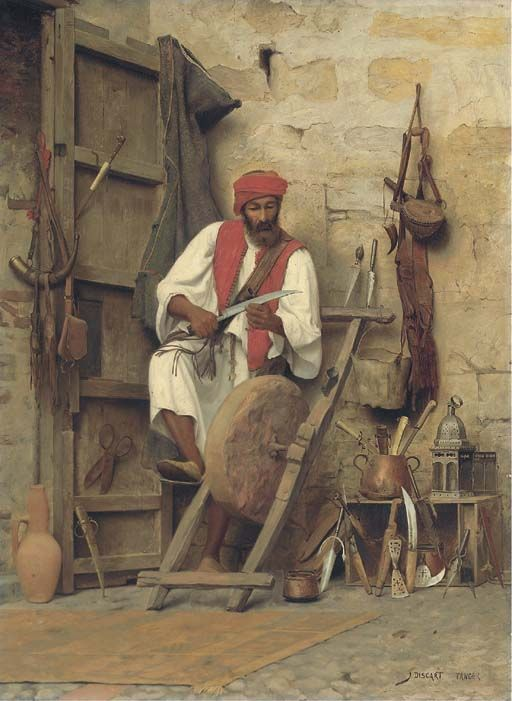 :::: ♤ ✿⊱╮☼ ☾ PINTEREST.COM christiancross ☀❤•♥•*[†] ::::The Sharpener by Jean Discart (1850-1920). Remarkably little is known about the career of the extremely gifted French painter, Jean Discart. He was born in the Italian city of Modena in 1856 and enrolled in a history of painting course at the Vienna Academy of Fine Arts at the age of seventeen. Discart first exhibited in the Paris Salon in 1884 and painted Orientalist subjects through to the 1920s. www.bonhams.com/...