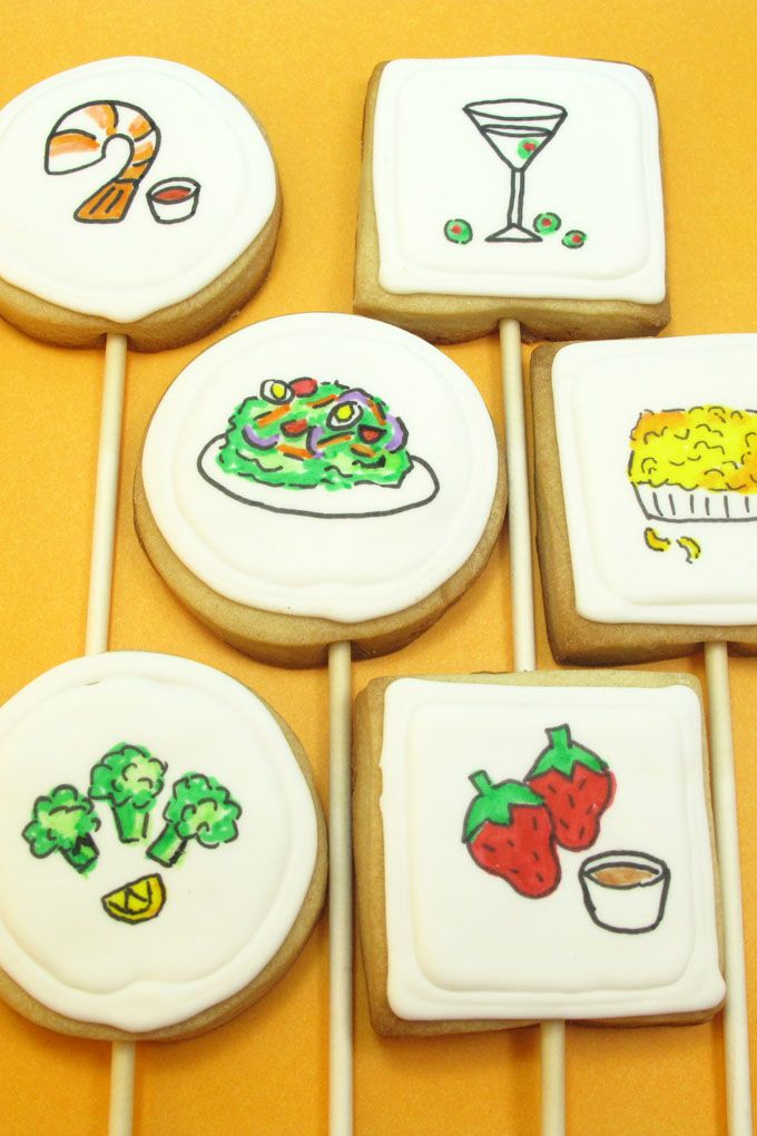 Dinner cookies: How to use food coloring pens to draw ...