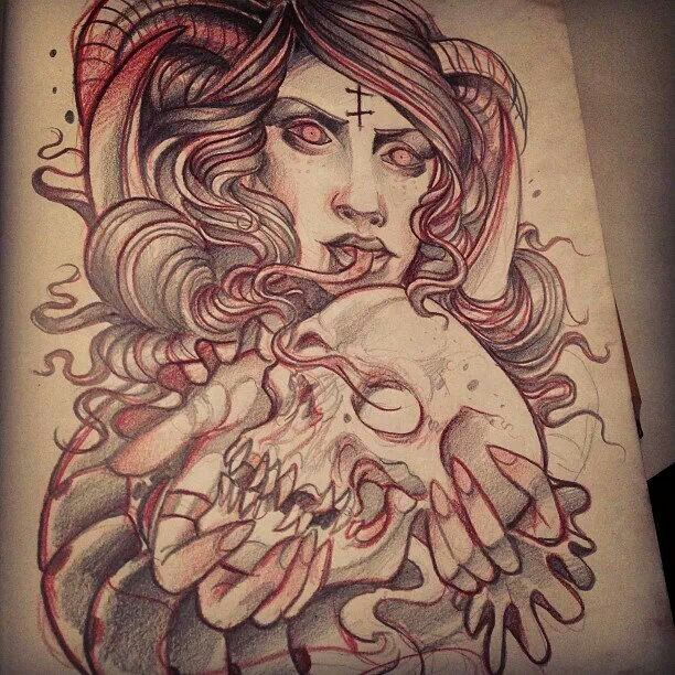 Tattoo Woman Demonic: Neotraditional Demon Woman Sketch By Grindesign