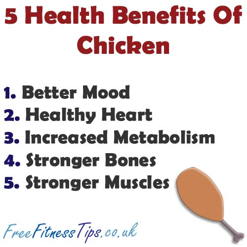 chicken health benefits Chicken is the good source of protein in diet but fried chicken add fat and calories  also, french fries are source of carbs and fat only so, overall its a heavy meal.