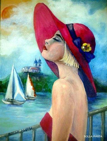 Sunlight Lake Balaton - Balatoni napfény - Acrylic on canvas - 18 x 24 cm -  by Márta Bolla - Hungary