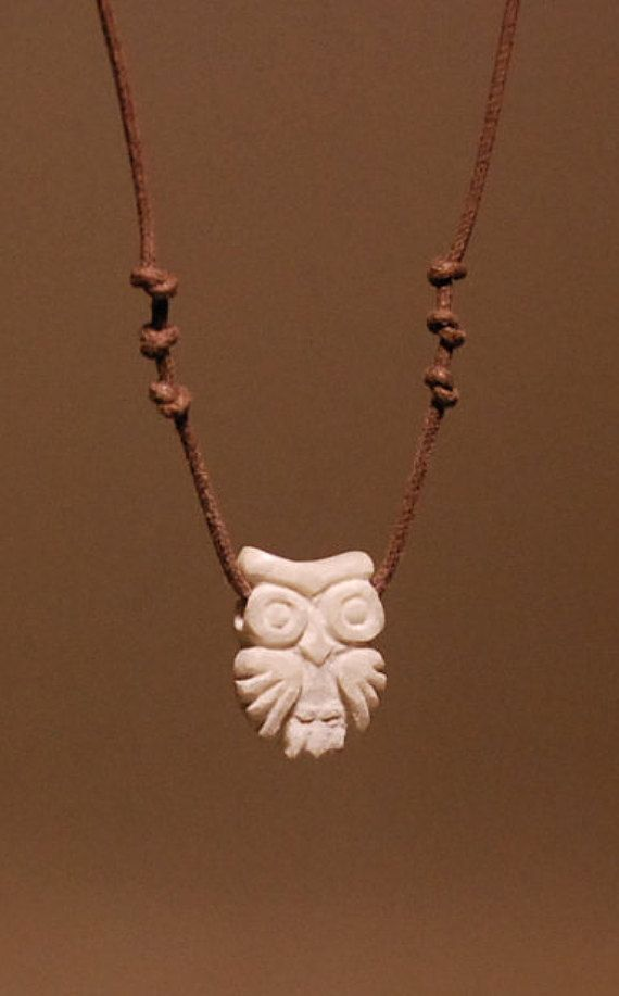 Owl Necklace River Stone Adjustable Cord Hand by shamanstones