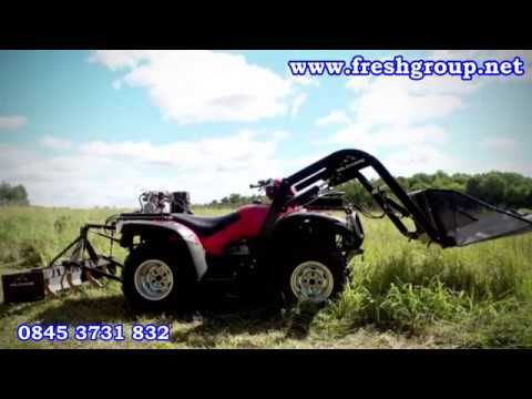 ATV Front Loader and 3-Point Linkage. ATV Quad Bike Hydraulic Attachments converts your ATV into a powerful machine that digs, lifts, hauls, transports and levels.  For more info: http://www.fresh-group.com/atv-quad-bike-hydraulic-attachments.html