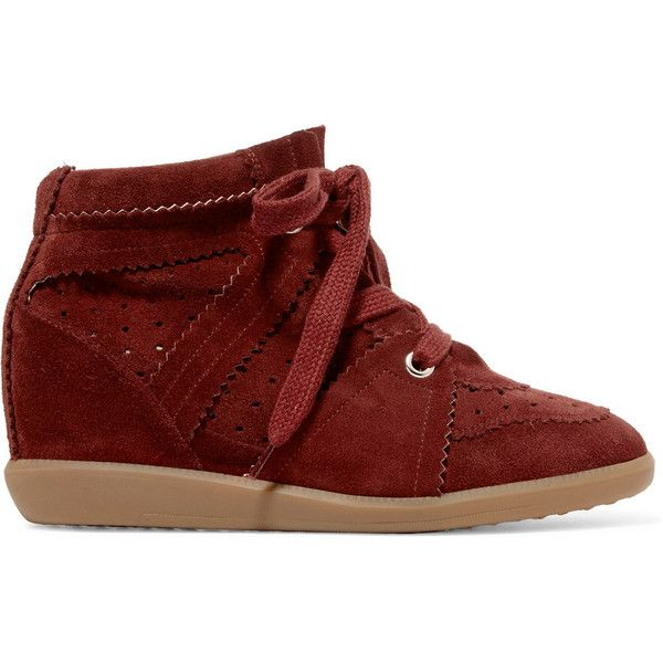 Isabel Marant Bobby suede wedge sneakers ($420) ❤ liked on Polyvore featuring shoes, sneakers, burgundy, studded lace-up wedge sneakers, lace up shoes, wedge trainers, suede shoes and suede wedge shoes