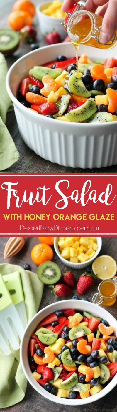 This summer fruit salad is as colorful as a rainbow, and is tossed in a reduced honey orange glaze for the perfect amount of added sweetness and flavor. Great for barbecues, potlucks, and picnics!