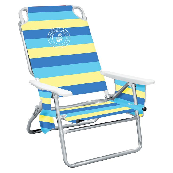 Caribbean Joe Five Position Folding Beach Chair with Pocket Organizer - Blue/Yellow Stripe