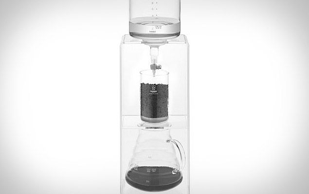 The Hario Cold Water Coffee Dripper uses the cold-drip method — which involves slowly dripping cold water through finely ground beans — to create a full-flavored concentrate that can be used to make hot cups o' joe, iced beverages, or coffee-tinted epicurean delights, without the acidity and bitterness of traditionally-brewed coffee, and without using a single drop of electricity.