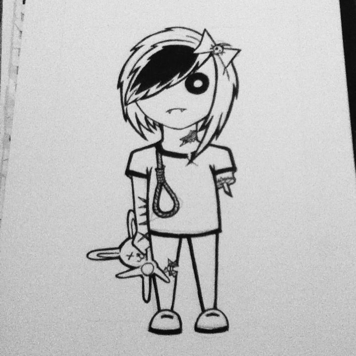 Cute emo zombie, done with  Ink on water colour paper.  All artwork posted is done by me (neonstar) unless stated.