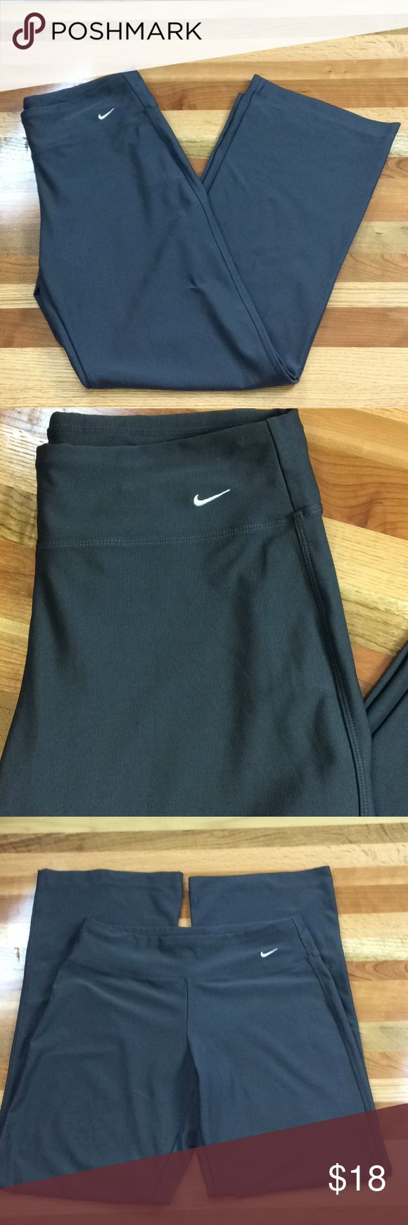 "Nike Fit Dry Gray Athletic Yoga Pants Nike Fit Dry Women's Gray Athletic Yoga Pants Size Small Waist-14"" Length-38"" Inseam-29"" A couple yellow spots on material tag. Nike Pants Track Pants & Joggers"
