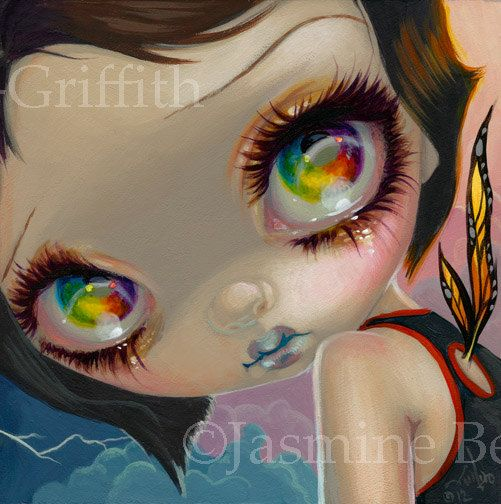 Faces of Faery 198 gothling butterfly girl big eye fairy face art print by Jasmine Becket-Griffith 6x6