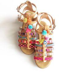 Gladiator ethnic leather sandals by Ilgattohandmade on Etsy