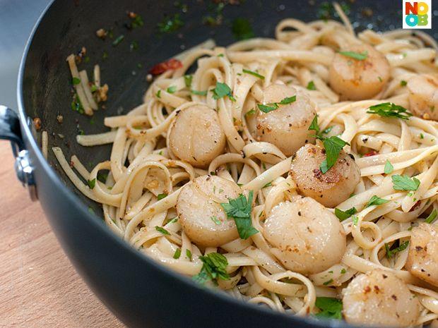 Scallops Aglio Olio (garlic & oil), a traditional Italian pasta dish.