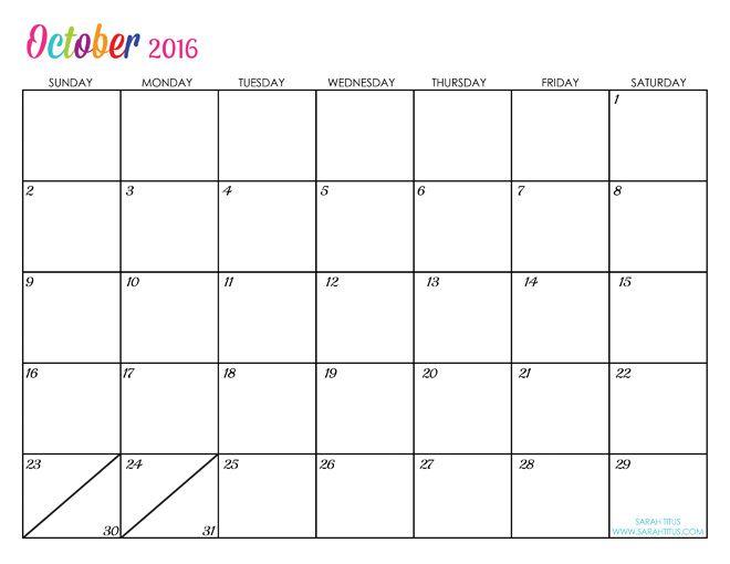 October Custom Editable Free Printable 2016 Calendars