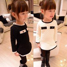 2t 3t 4t 8 yıl çocuk bebek kızlar elmas örgü cebine elbise kız çocuklar siyah/beyaz fener/uzun tam kollu elbise bahar(China (Mainland))