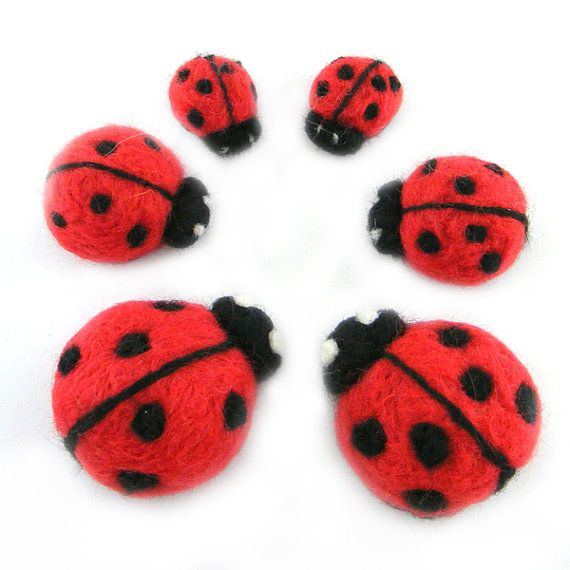 Ladybug Family Needle Felted Merino Wool Large Ladybug Family Felt Soft Sculpture $38.00