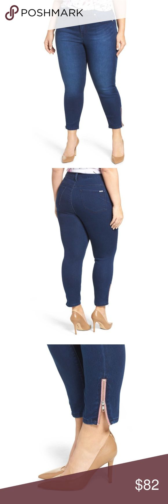 """Zip ankle skinny jeans size 18W Melissa McCarthy Ultra comfortable soft stretch Cropped skinny jeans detailed with exposed zippers at the hems are cut to flatter curves in stonewashed stretch denim. Slimming silhouette system: contoured waistband for full back coverage, hip slimming technology with tummy flattening panels 26"""" inseam; 12 1/2"""" leg opening; 12"""" front rise; 18 1/2"""" back rise (size 18W) 65% cotton, 33% polyester, 2% spandex Melissa McCarthy Seven7 Jeans Skinny"""