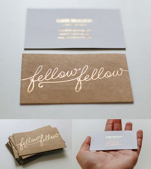 Great Typography On A Gold Hot Foil Stamped Business Card For A Graphic Designer