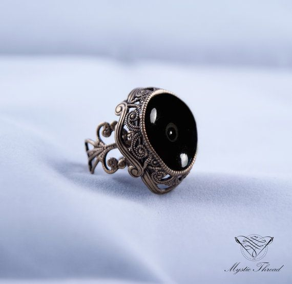 Black agate gem victorian ring-gothic by MysticThreadDesigns