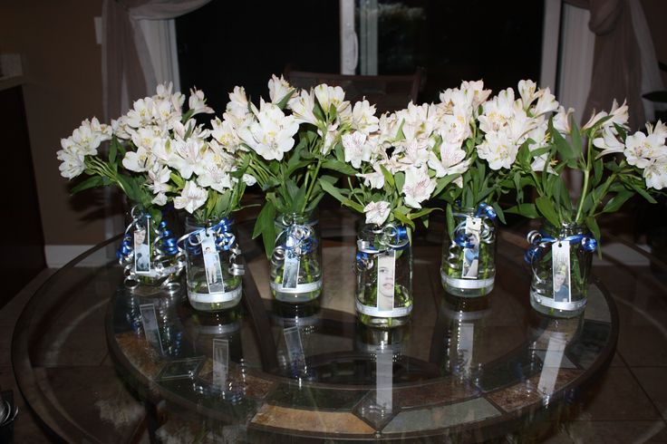Table Centerpieces Glass Ball Jars White Flowers Blue