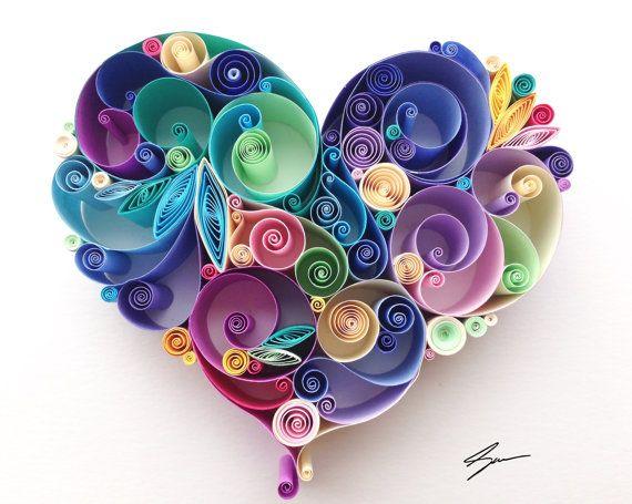 Etsy の Quilled Paper Art: Love is All Around by SenaRuna