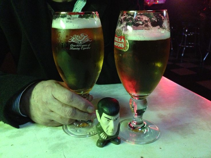 Spock enjoying a Stella. New York