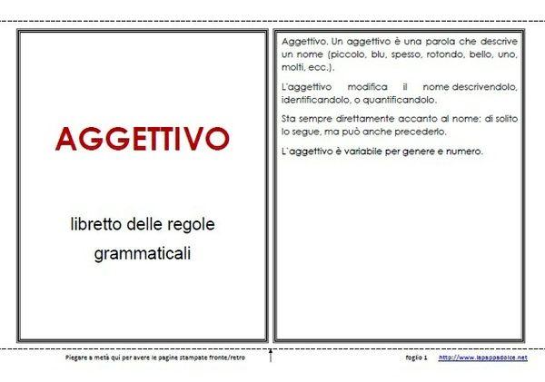 Libretto delle regole grammaticali per l'uso dell'AGGETTIVO